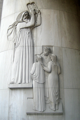 Moses at the New York Supreme Court with the Ten Commandments